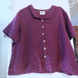 FLAX 100% Linen Lagenlook Button Up Shirt XXL